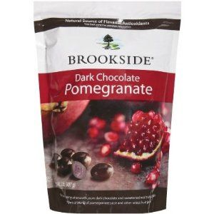 These are insanely good. Dark chocolate with tarty Pomegranate fruit inside. Only 180 calories for 1/4 cup, which is a good amount! Sams and Costco have them half the price.