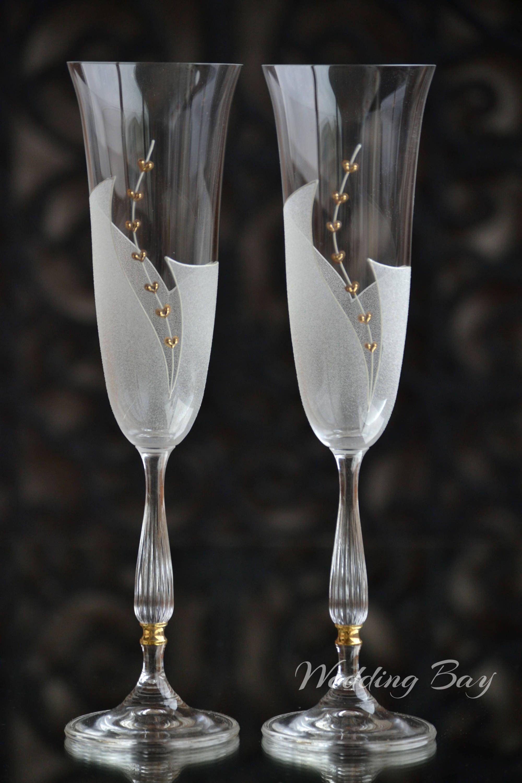 Wedding Glasses Wedding Flute Set Hand Painted Glasses Bridal Champagne Glasses Flutes Maries Frosted Champagne Flutes Anniversary Gift Hand Painted Glasses Painted Glasses Wedding Glasses
