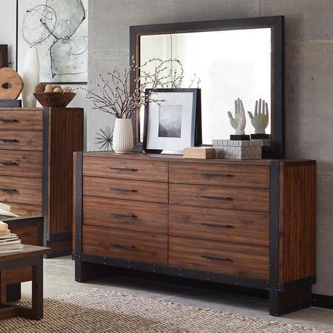 Ellison Rustic Modern Industrial Dresser & Mirror ...