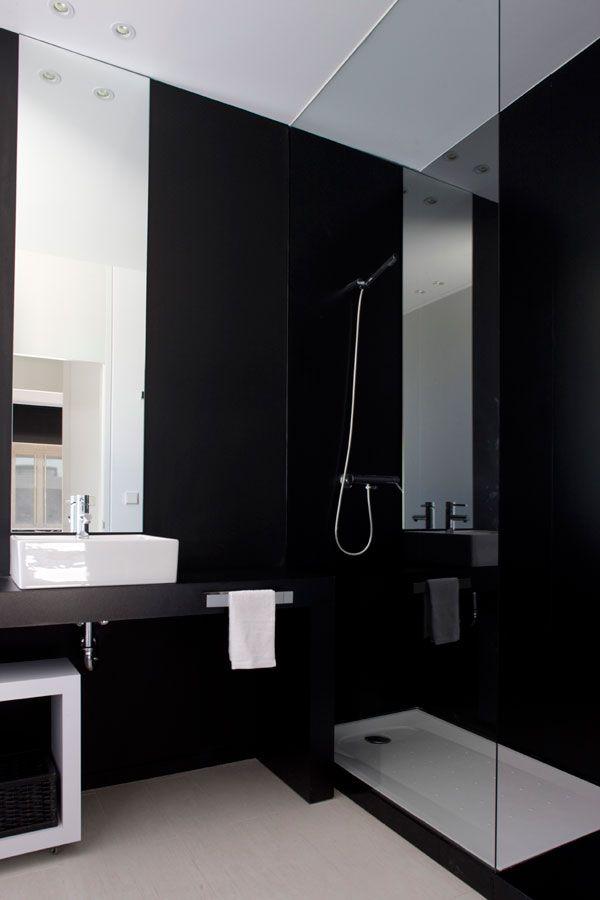 Reforma ba o lavabo blanco sobre encimera zona de ducha son separaci n de vidrio paredes - Lavabos de vidrio ...