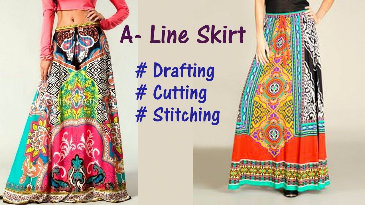 A Line Skirt DIY | A-Line long skirt drafting, cutting and ...