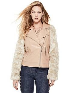 Marco Faux-Leather Moto Jacket | GUESS.com