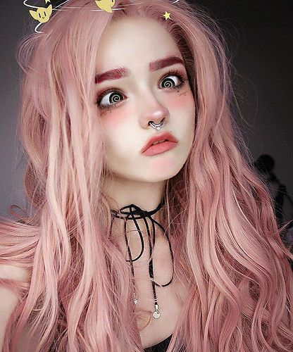 lace wig human hair long hair pink wig in 2019