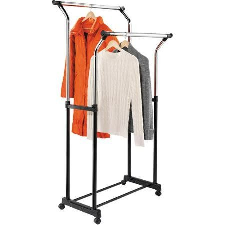 Walmart Clothes Hanger Rack Delectable Honey Can Do Flared Double Garment Rack Blackchrome  Garment Decorating Inspiration