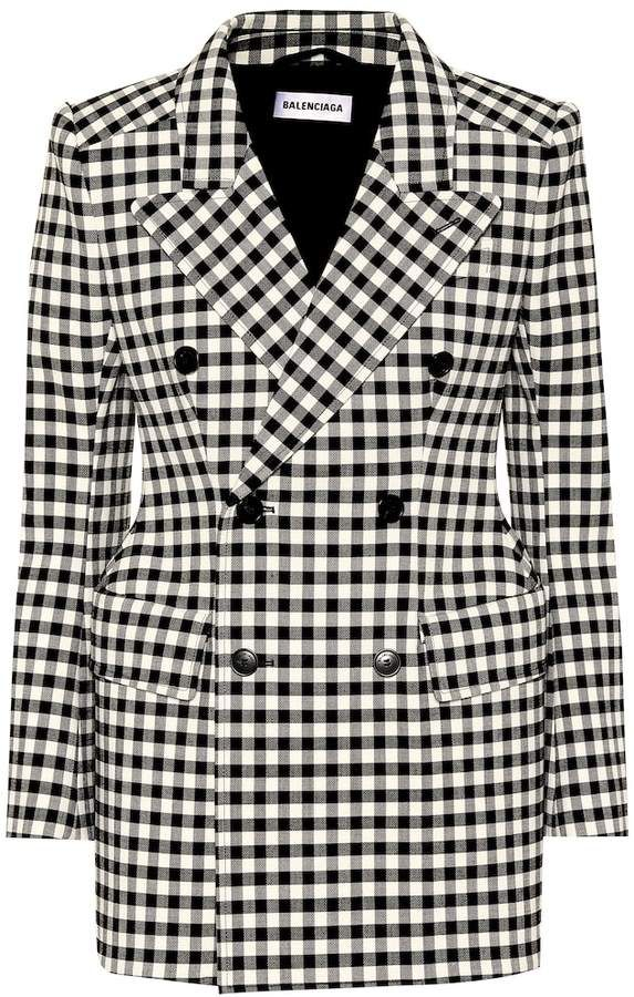 bef75a034b Balenciaga Hourglass gingham wool-blend blazer in 2019 | Products ...
