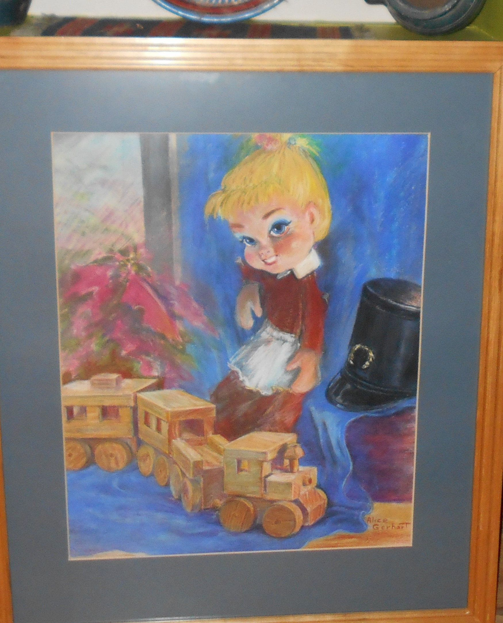 Vintage Big Eye Girl Train Toy Conductor Glass Framed Pastels Art By Alice Gerhart Pastel Art Big Eyes