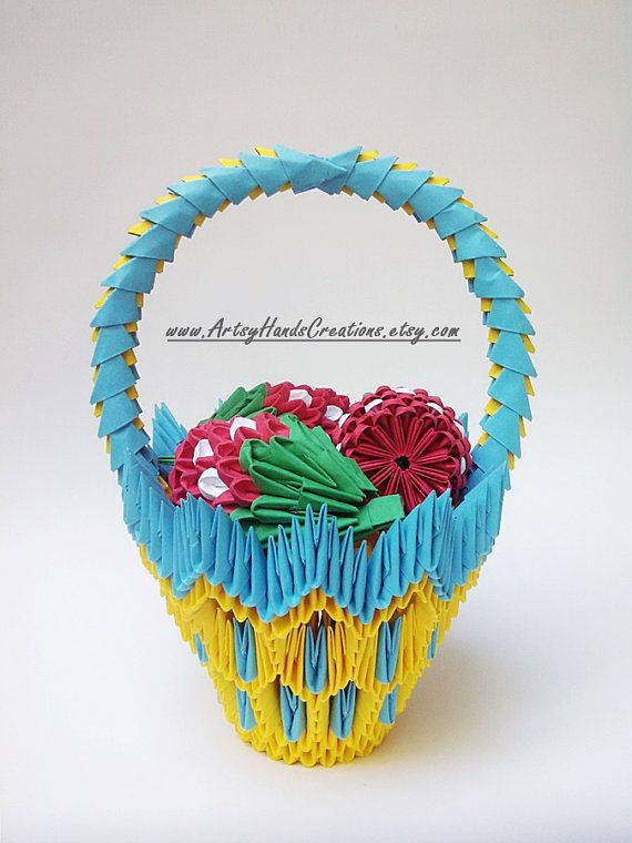 3d Origami Fruit Basket Strawberry Fruits Paper
