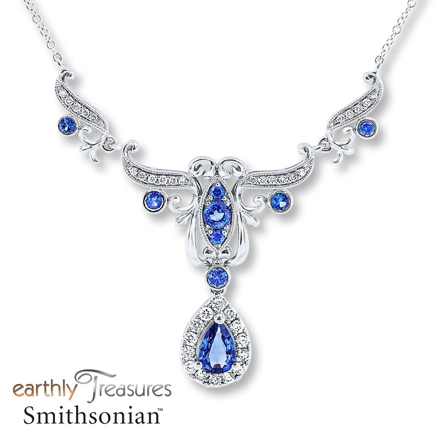 Natural Sapphire Necklace 12 ct tw Diamonds 14K White Gold 229999