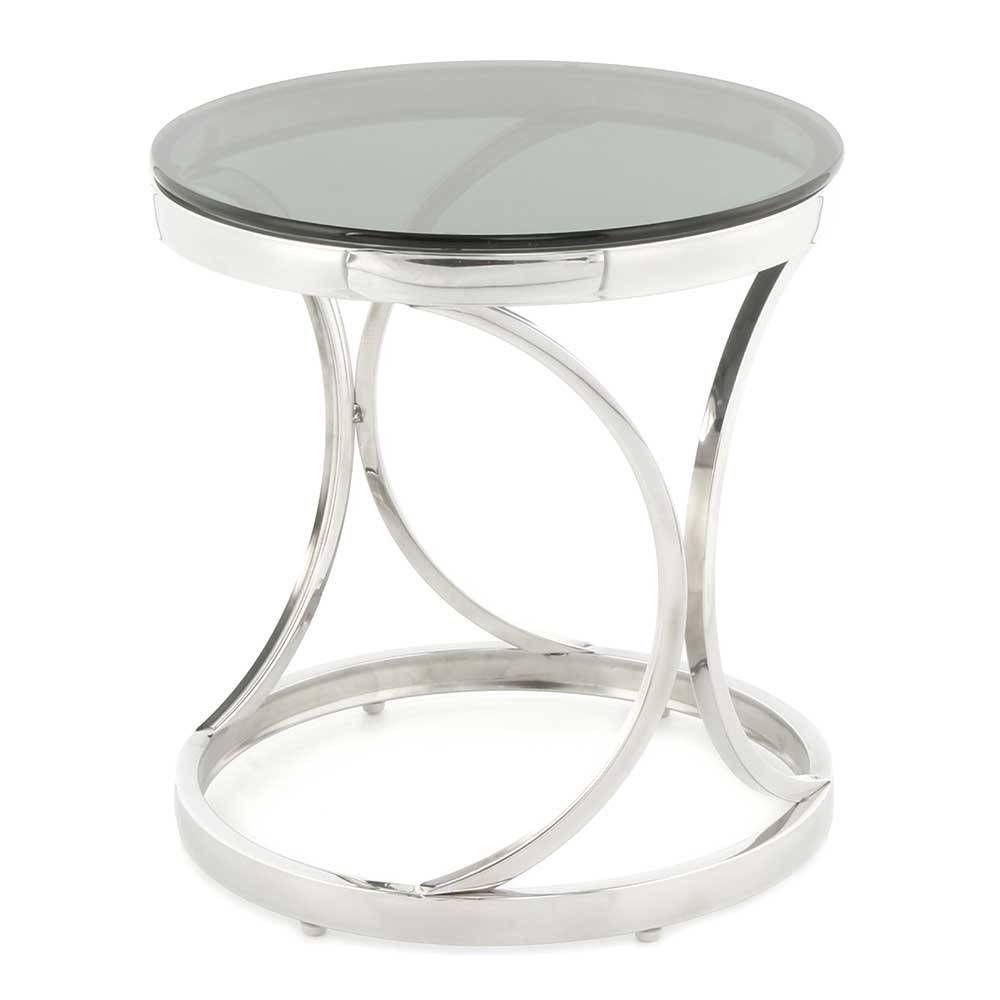 Runder Schwarzglas Beistelltisch Mit Edelstahl Designgestell In Silber Elian Schwarzes Glas Beistelltisch Edelstahl
