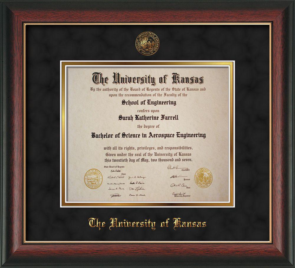 Univ of Kansas Diploma Frame-Rose Gold Lip-w/KU Seal-Black Suede ...