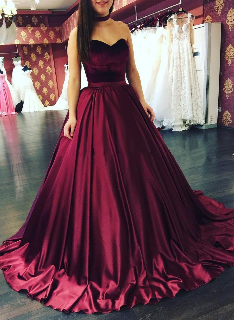Vogue Burgundy Long Evening Prom Dress With Zipper Pleated Satin