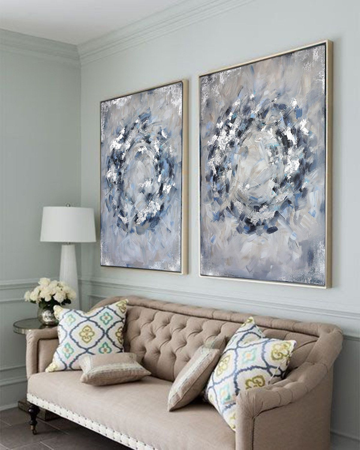 Excited To Share The Latest Addition To My Etsy Shop Infinity Circles In Blue Grey Large Grey An Blue Wall Decor Living Room Silver Wall Art Living Room Art