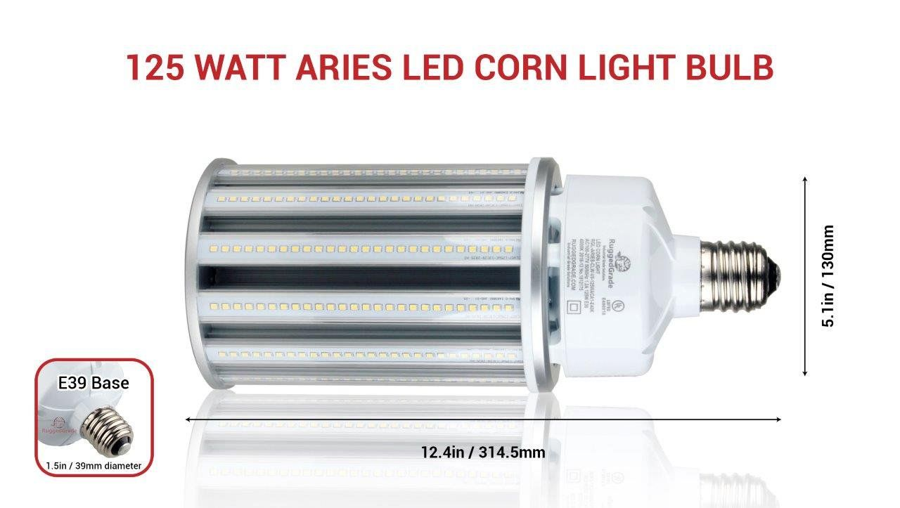 125 Watt E39 Led Corn Light Bulb Aries Series 16 250 Lumens 5000k Led Replacement For 400 Watt Metal Halide Light Bulb Bulb Led Bulb