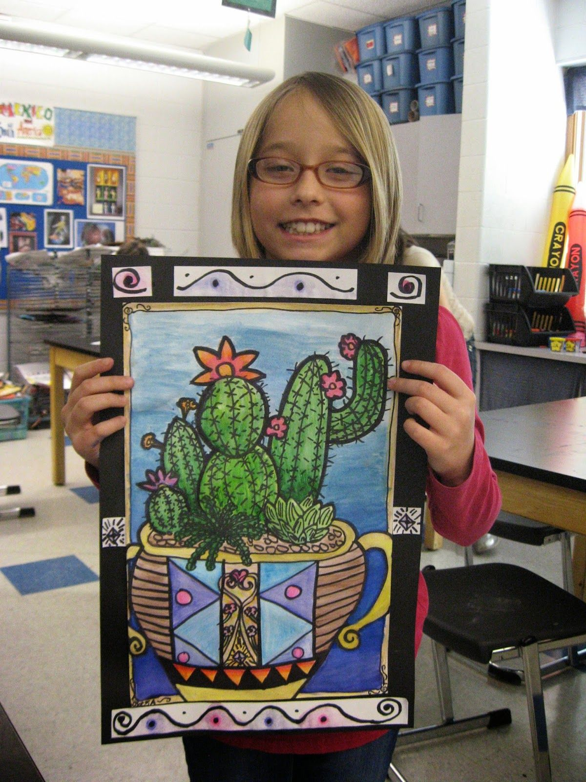 5th Grade Cacti Value Blending Watercolor Pattern