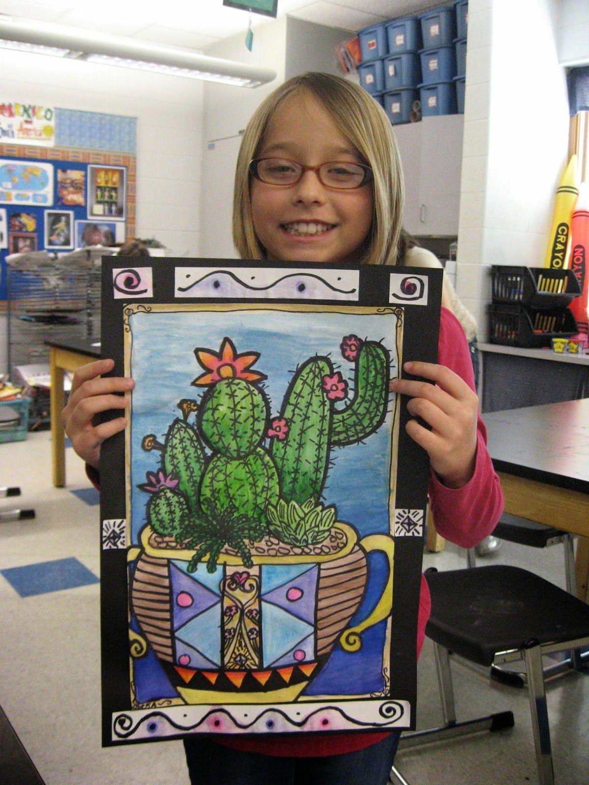 5th Grade Cacti Value Blending Watercolor Pattern