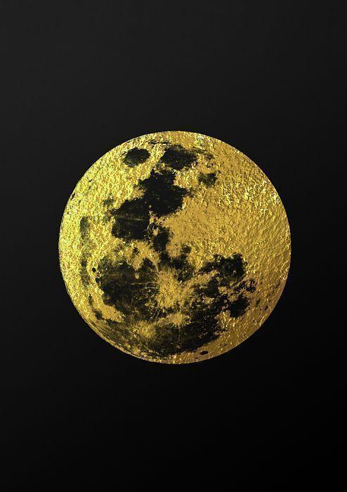 moon, moon print, moon poster, full moon, gold moon, golden moon ...