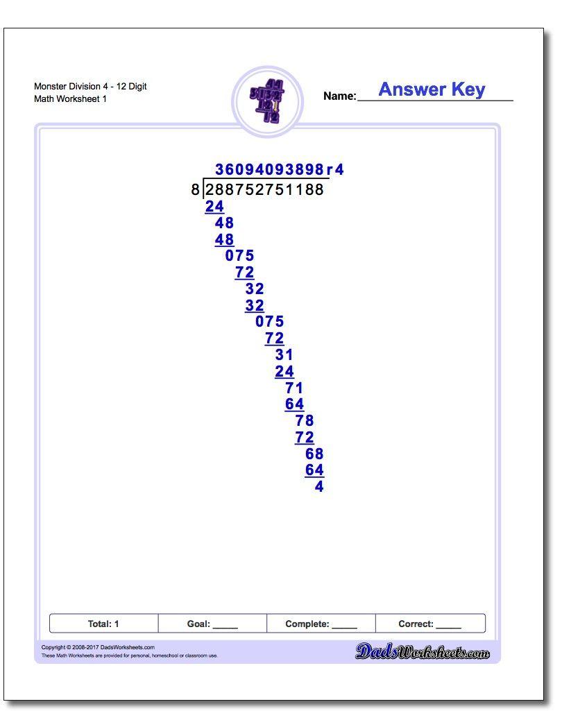 Monster Long Division Worksheets   Teaching: Mathematics   Pinterest