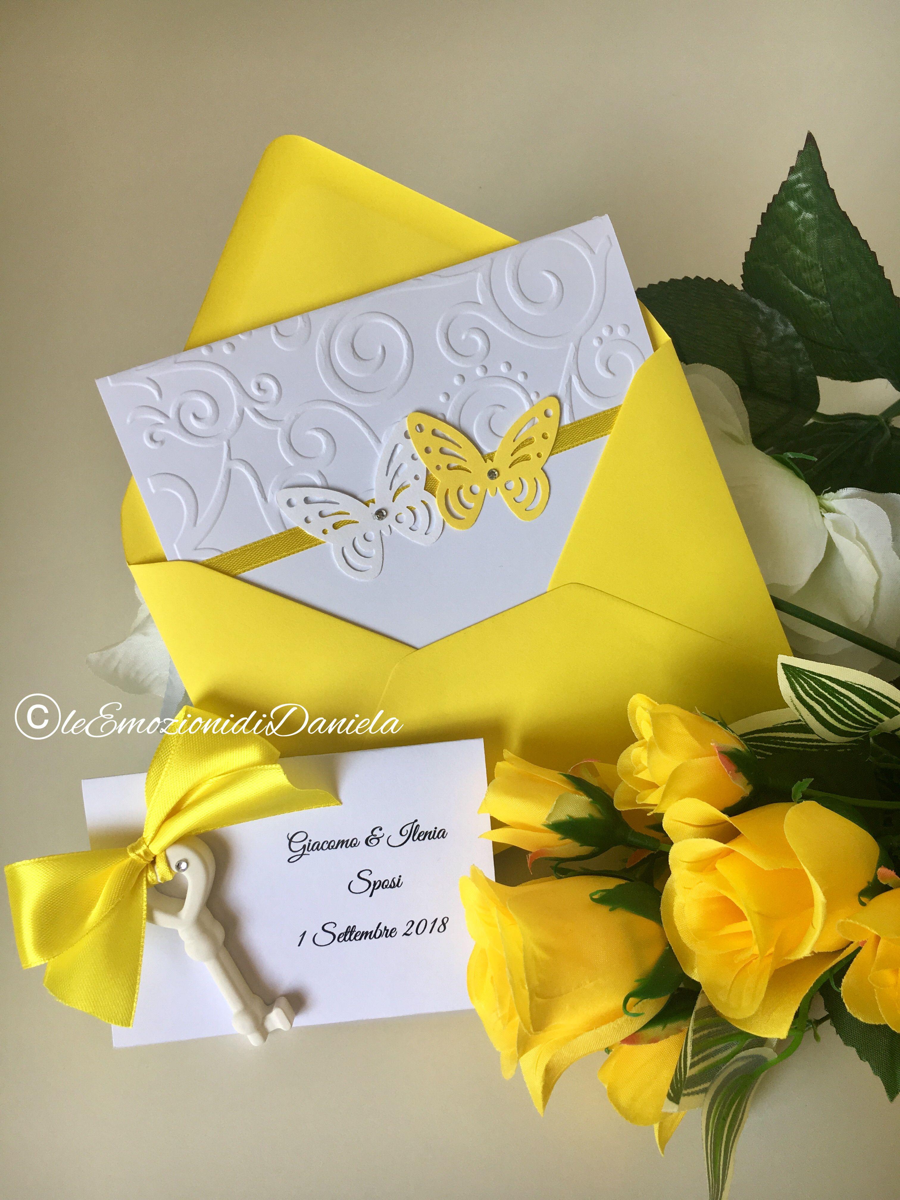 Partecipazioni Matrimonio Gialle.Partecipazione Matrimonio Bianca E Gialla Yellow And White