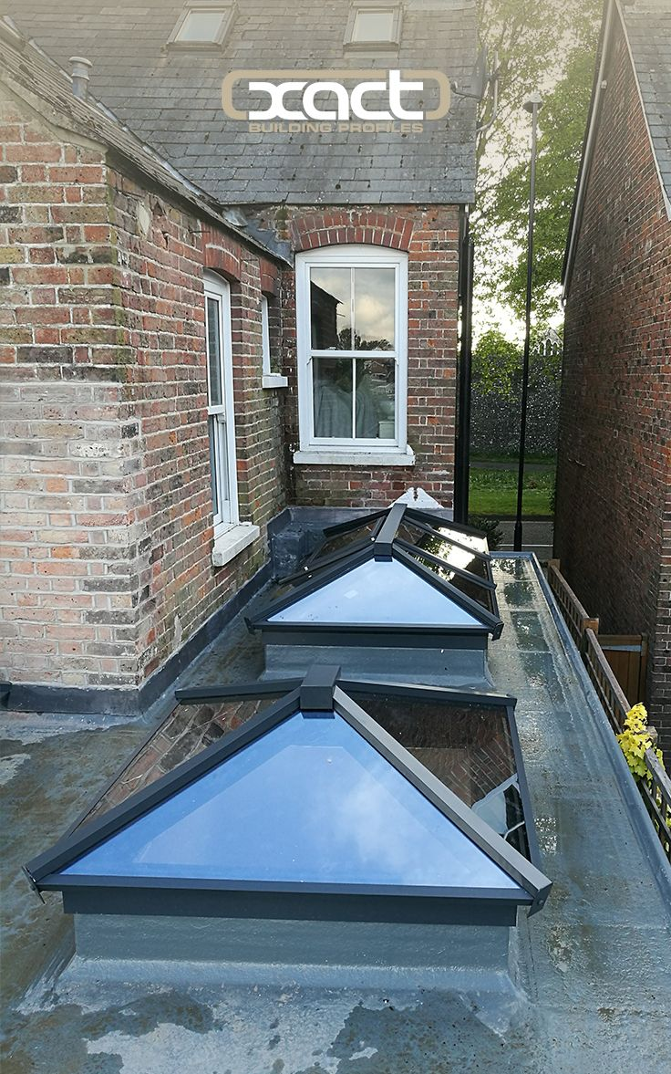 XACT Aluminium Roof Lanterns. Two of three roof lanterns installed on a single storey rear extension on a property in Chichester.
