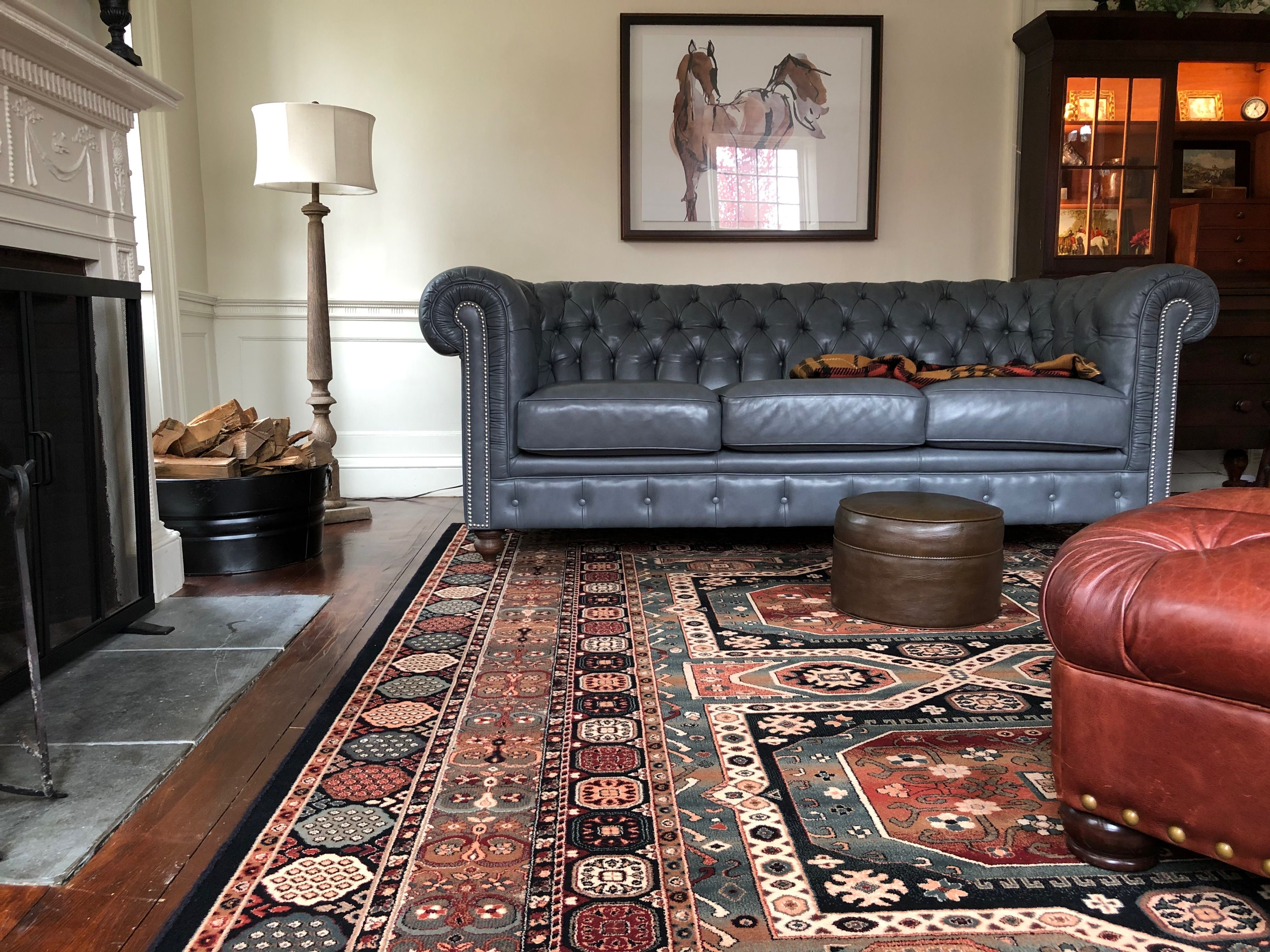 Persian Rug Blue Leather Chesterfield Couch Sofa Modern Art Living Room Carpet Rugs In Living Room Living Room Leather