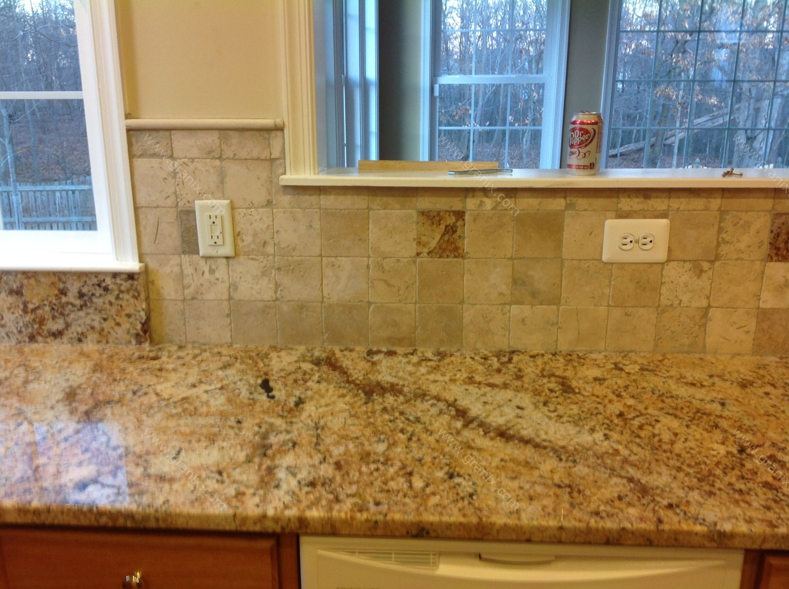Backsplash for Busy Granite Countertops | Diana G. – Solarius ...
