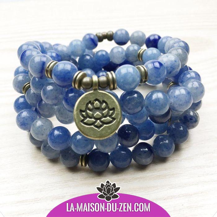 Hommes Naturel Bouddhisme Bijoux Energy 12 MM BLEU pierres précieuses Perles Mala Bracelet