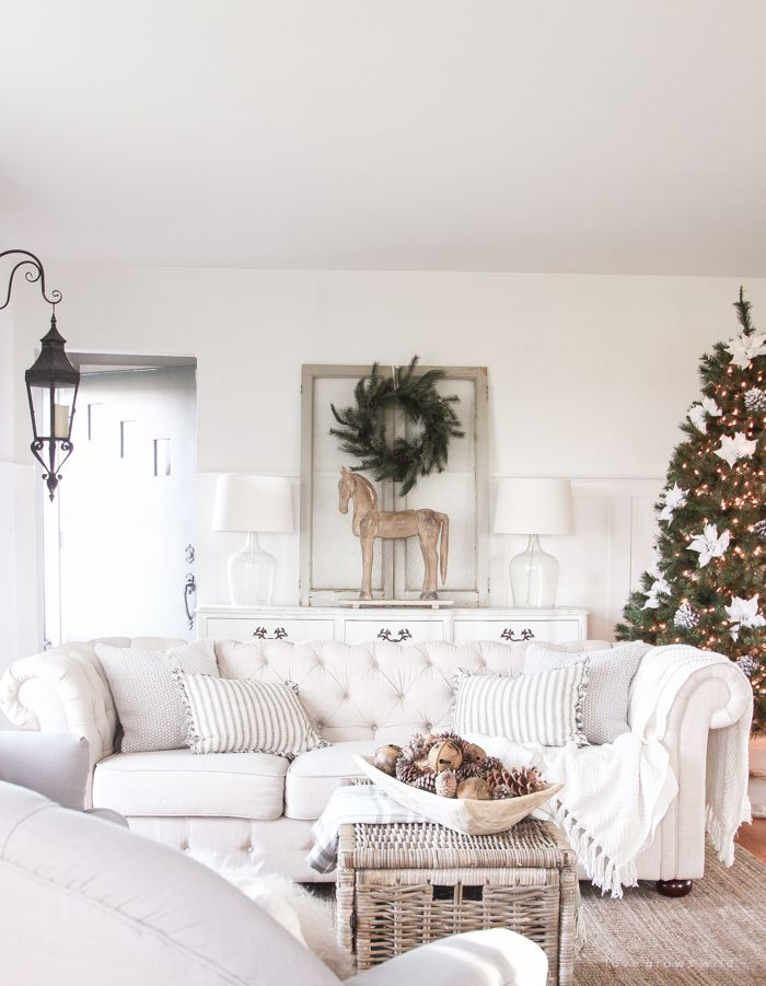 A Beautiful Farmhouse Living Room Decorated For The Holidays Christmas Living Rooms Christmas Decorations Living Room Casual Living Room Decor