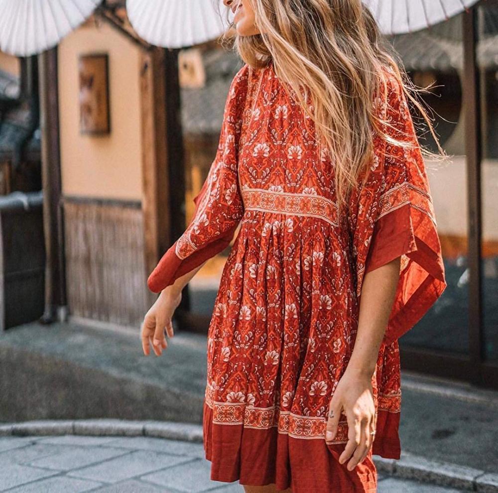 R Vivimos Women S Summer Cotton Half Sleeve Casual Loose Bohemian Floral Tunic Dresses At Amazon Wome Floral Tunic Dresses Womens Beach Dresses Red Dress Women [ 990 x 1000 Pixel ]