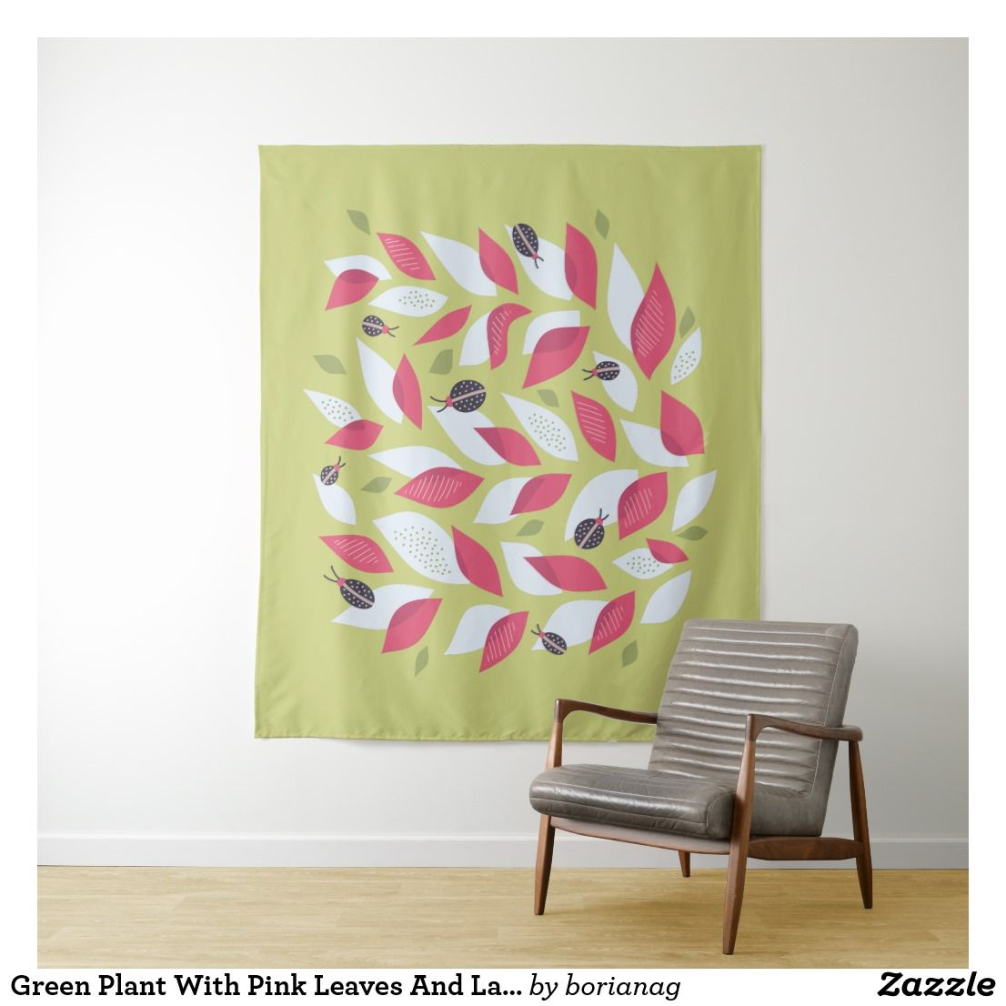 Green Plant With Pink Leaves And Ladybugs Spring Tapestry | Tapestry ...