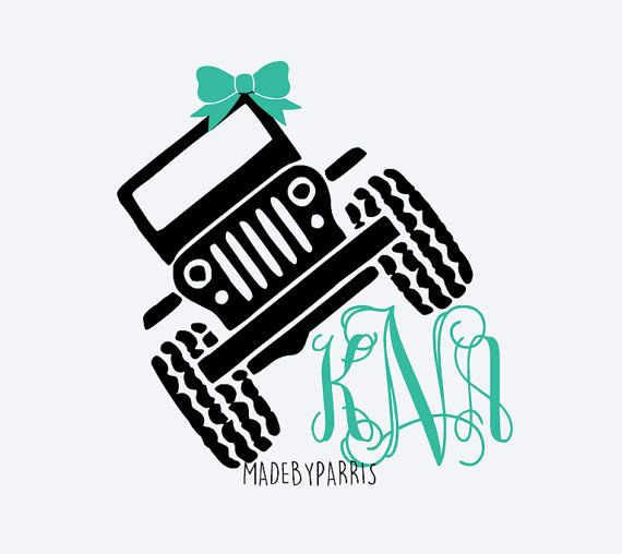 Jeep Monogram Decal With Bow Jeep Decal Glitter By MadeByParris - Jeep vinyls for yeti cups