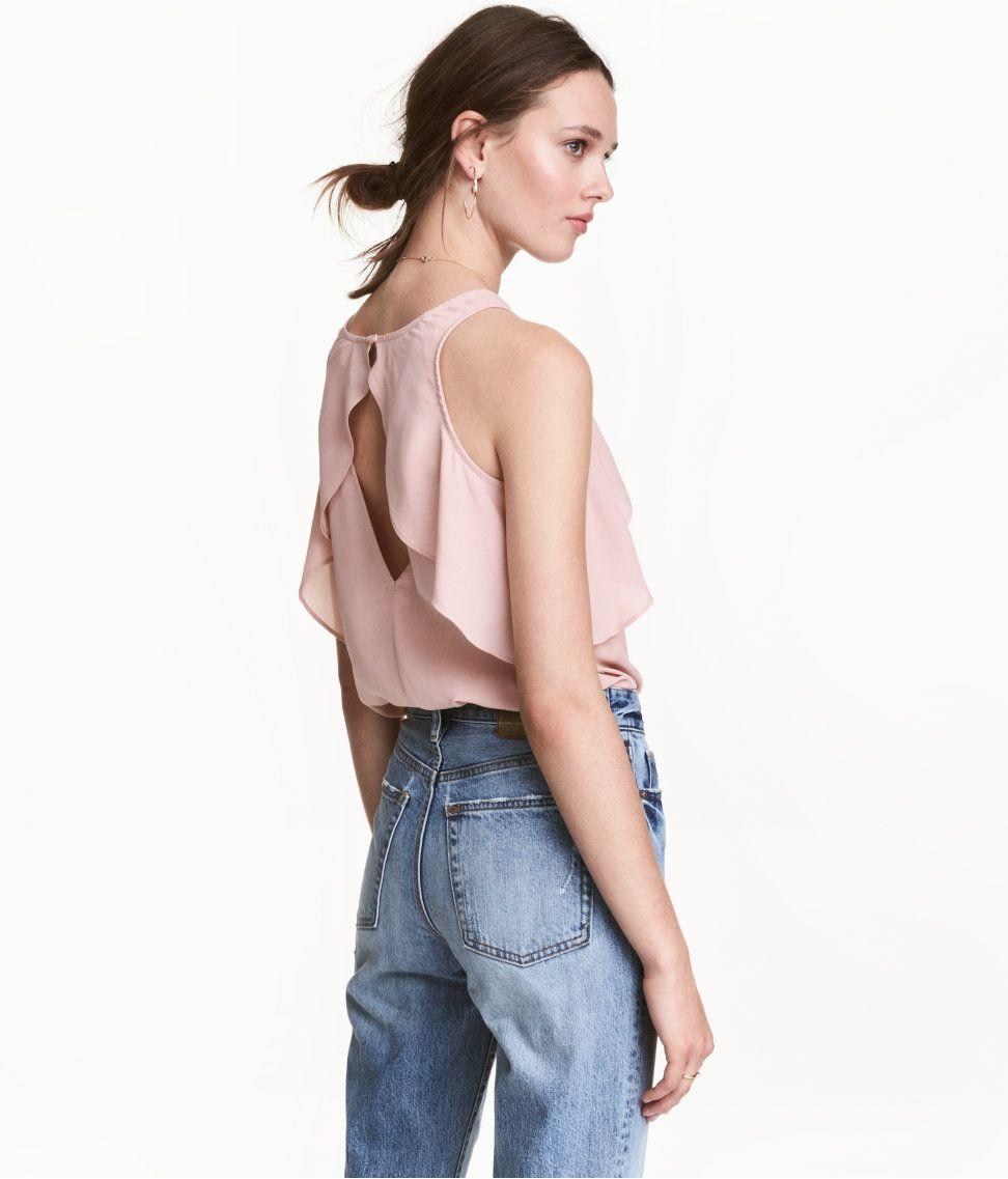 H&m dusty pink dress  Ruffled Blouse  HuM Divided  fashion  Pinterest  Ruffles