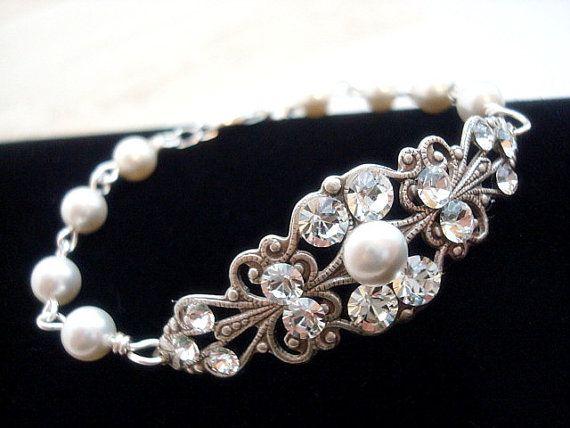 Vintage style bracelet bridal bracelet pearl by treasures570, $40.00