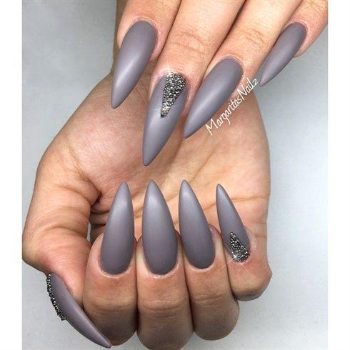 Matte Grey Stiletto Nails By Margaritasnailz