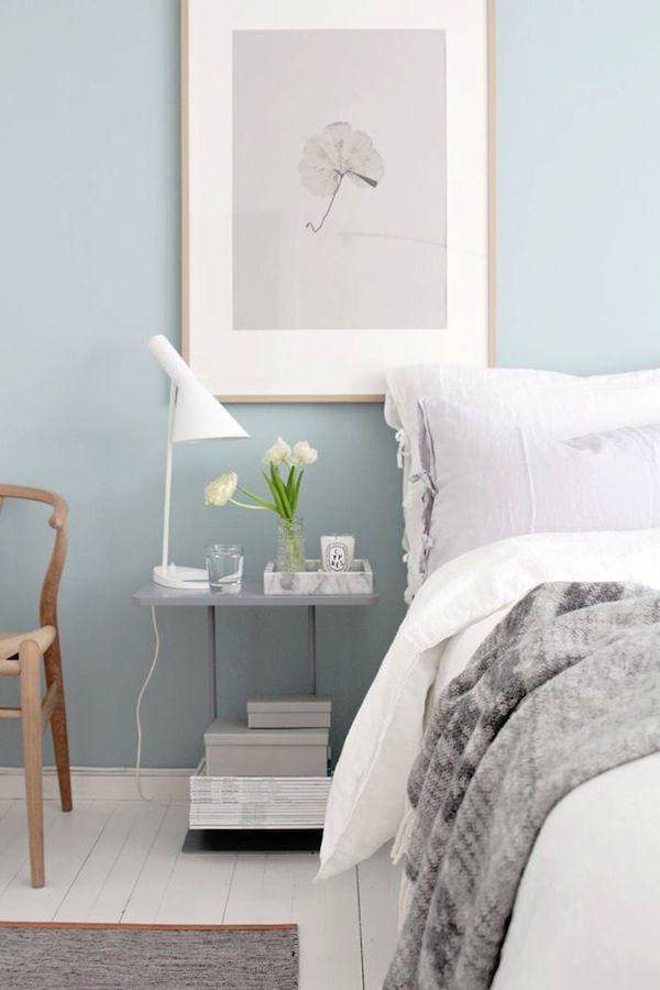 bedside table inspiration - Google Search home Pinterest - peinture chambre gris et bleu