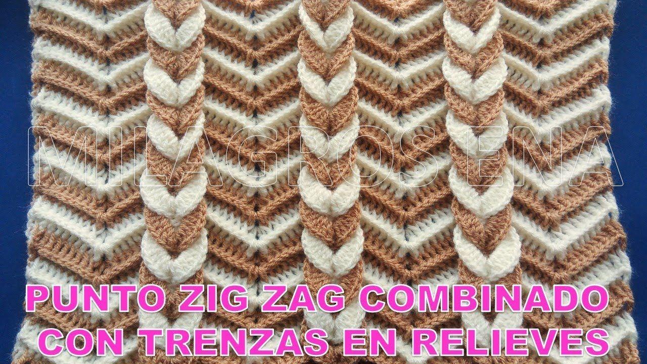 Punto a Crochet Trenzas en Relieves combinado con punto Zig Zag para ...