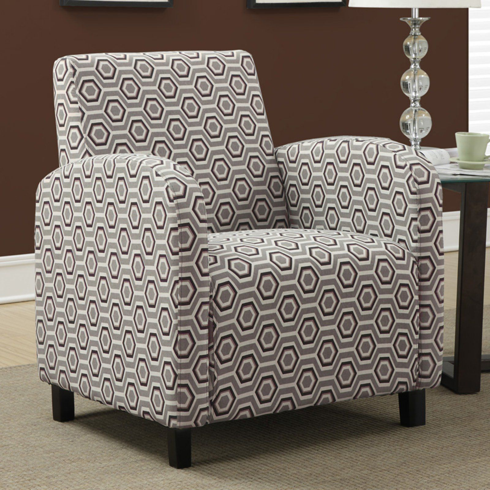 Monarch Specialties 1813 Fabric Metal Accent Chair: Monarch Specialties Hexagon Arm Chair In 2019