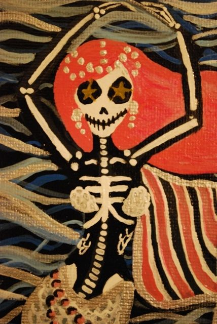 Spicy day of dead sugar skull mermaid