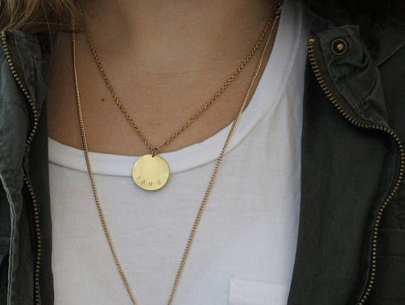 Gold 'Love' Disk Necklace