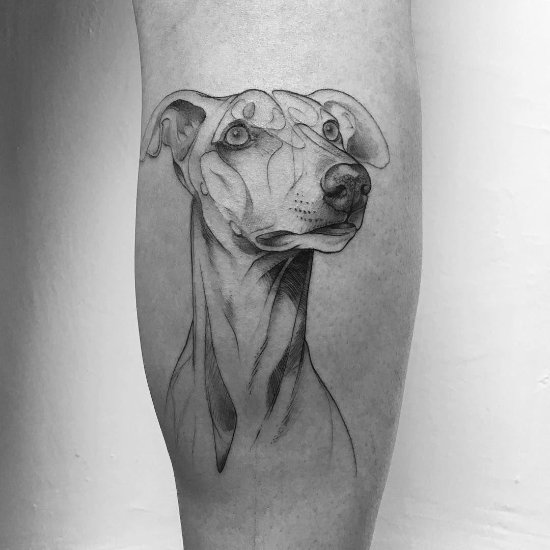 Greyhound Tattoo By Daniel Berdiel Tatuajes Perros Tatuaje De