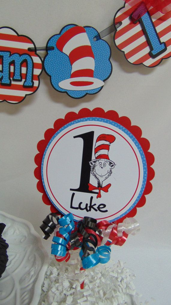 b46e8c6c76304d Dr Seuss Cake topper Cat in the Hat birthday by ASweetCelebration ...