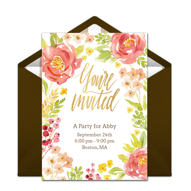 Customizable Free Fall Floral Online Invitations Easy To Personalize And Send For A Party Punchbowl