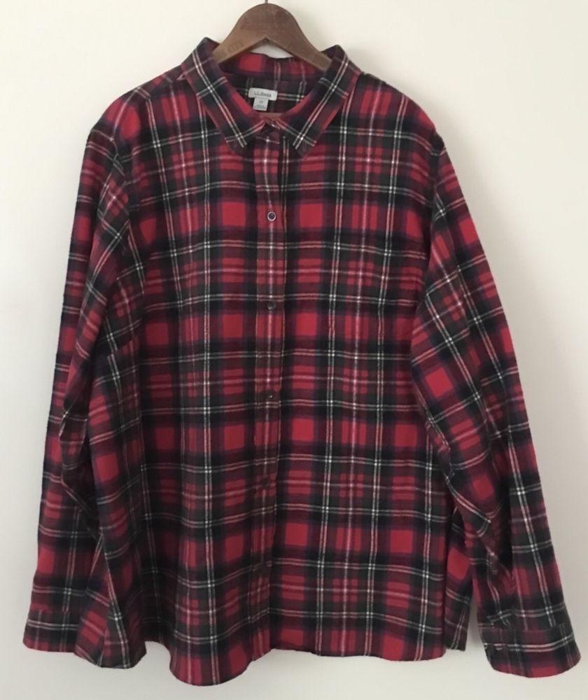 Big flannel outfits  Vtg LL BEAN Tartan Flannel Plaid Shirt Menus Sz X Red Big Tall