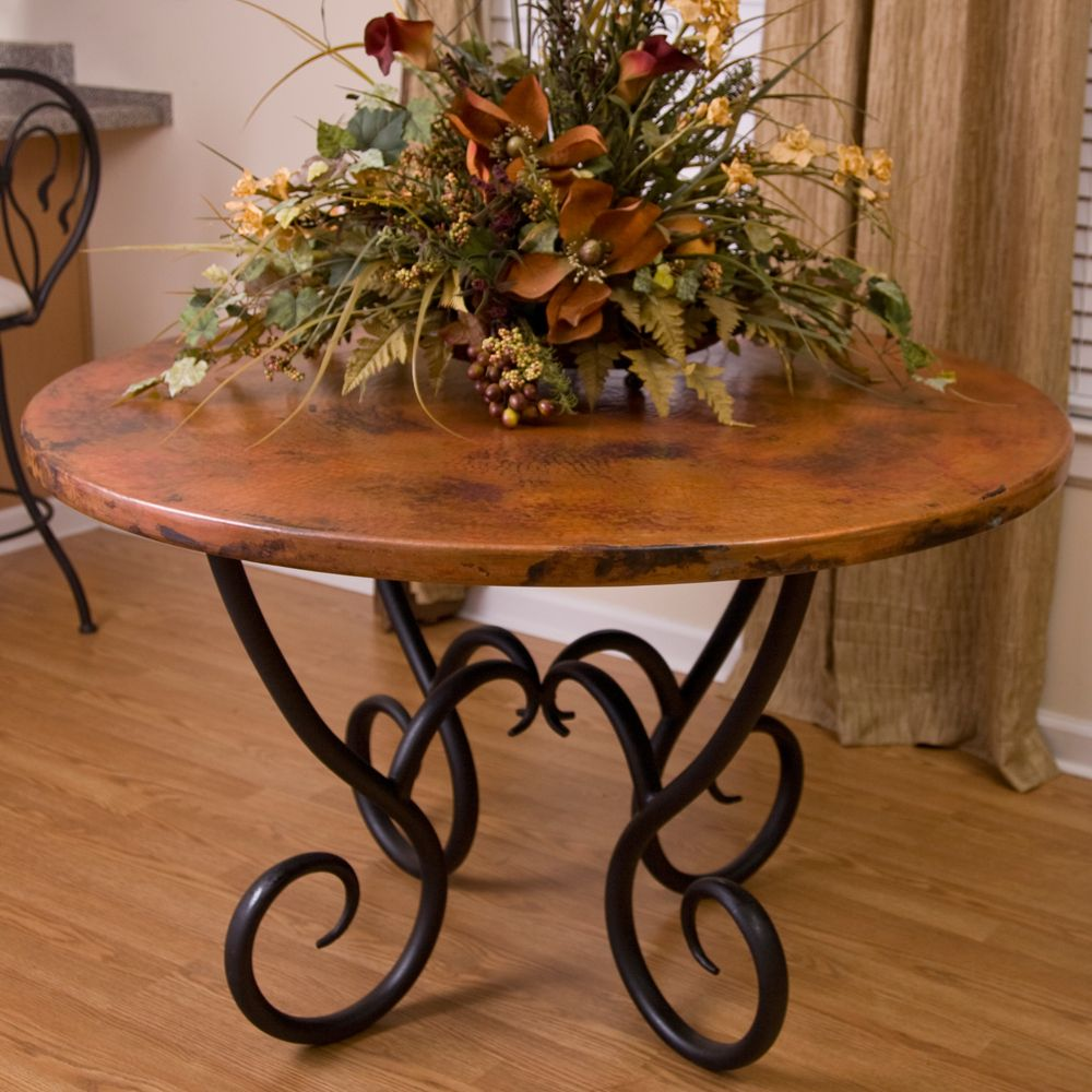 Milan Round Copper Dining Table by Mathews & Company ...