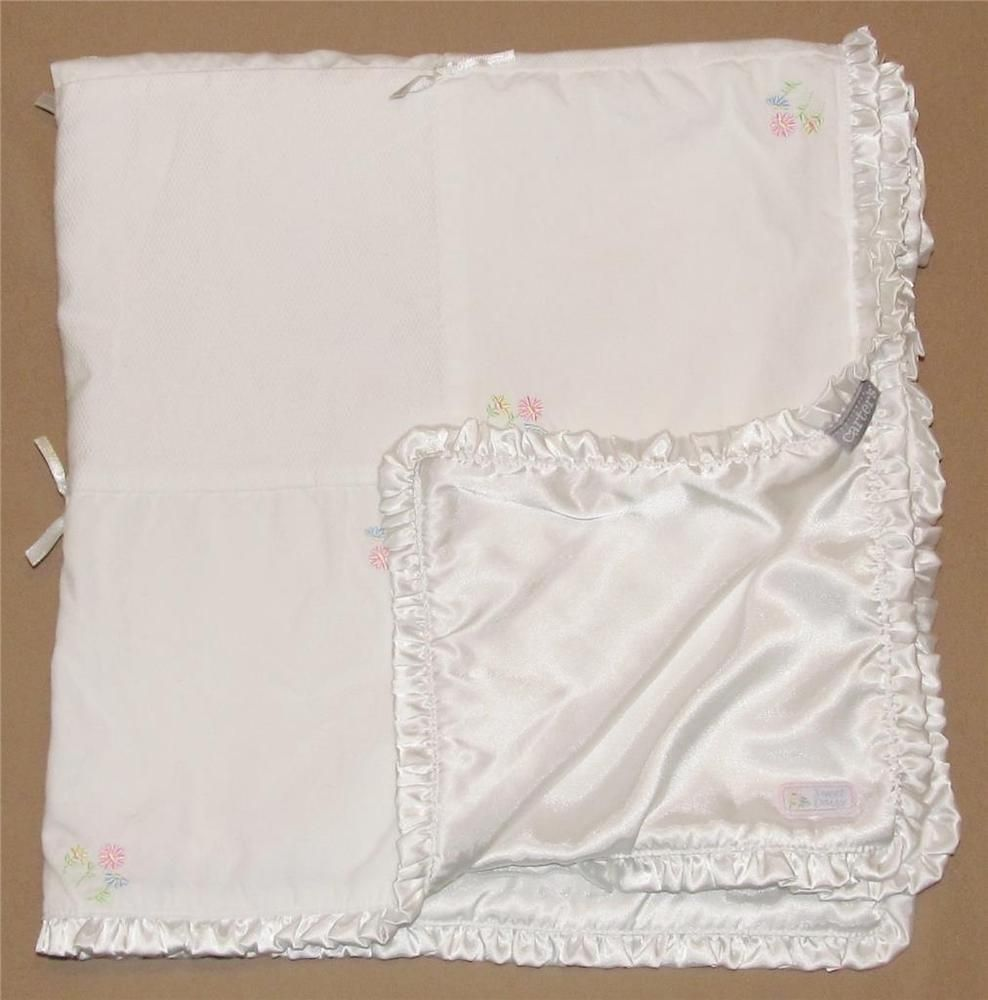 33293d92d Carters Sweet Daisy White Patchwork Baby Blanket Pink Blue Flowers Satin  Ruffle…
