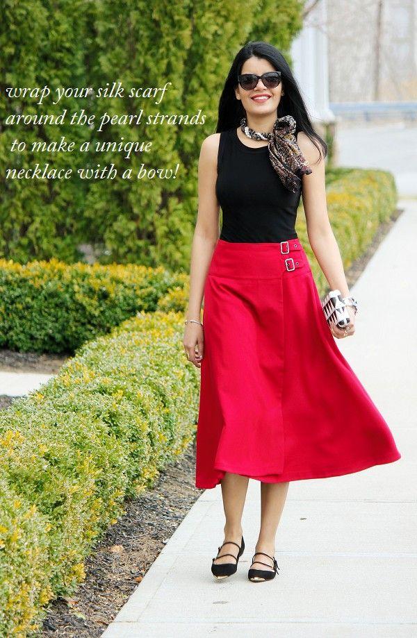 cf5d944aee ASOS red midi skirt, How To wear Midi Skirts, Full Midi Skirt, Zara Three  Strap Flats