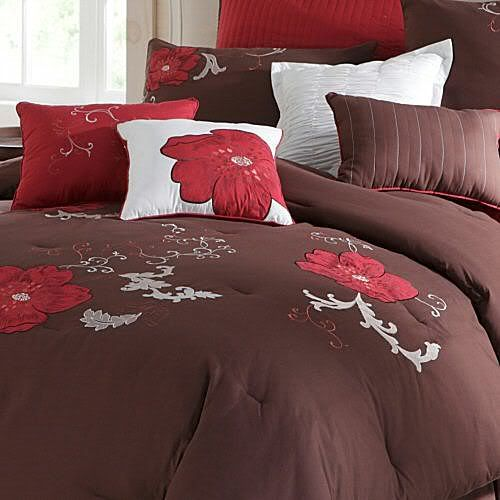 Applique On White Bedspread About New Jcpenney Poppy Brown