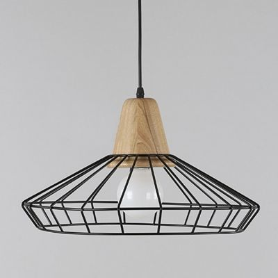 Single Light Led Pendant Light With Black Metal Cage Shade Led