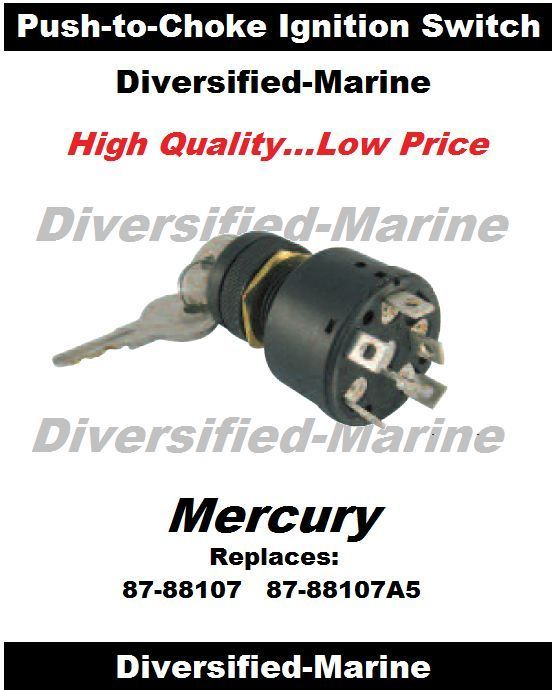 Ignition Key Switch with Push to Choke Mercury Outboard #PrivateLabel