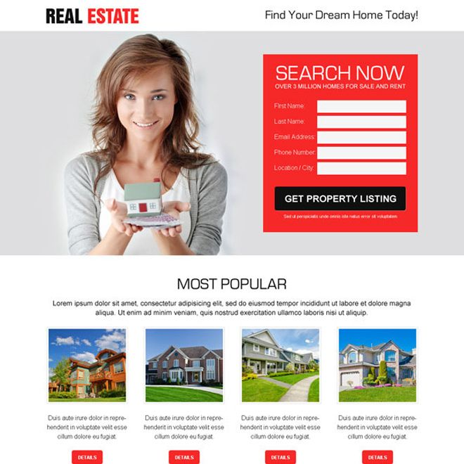 best real estate property listing clean and effective lead ...