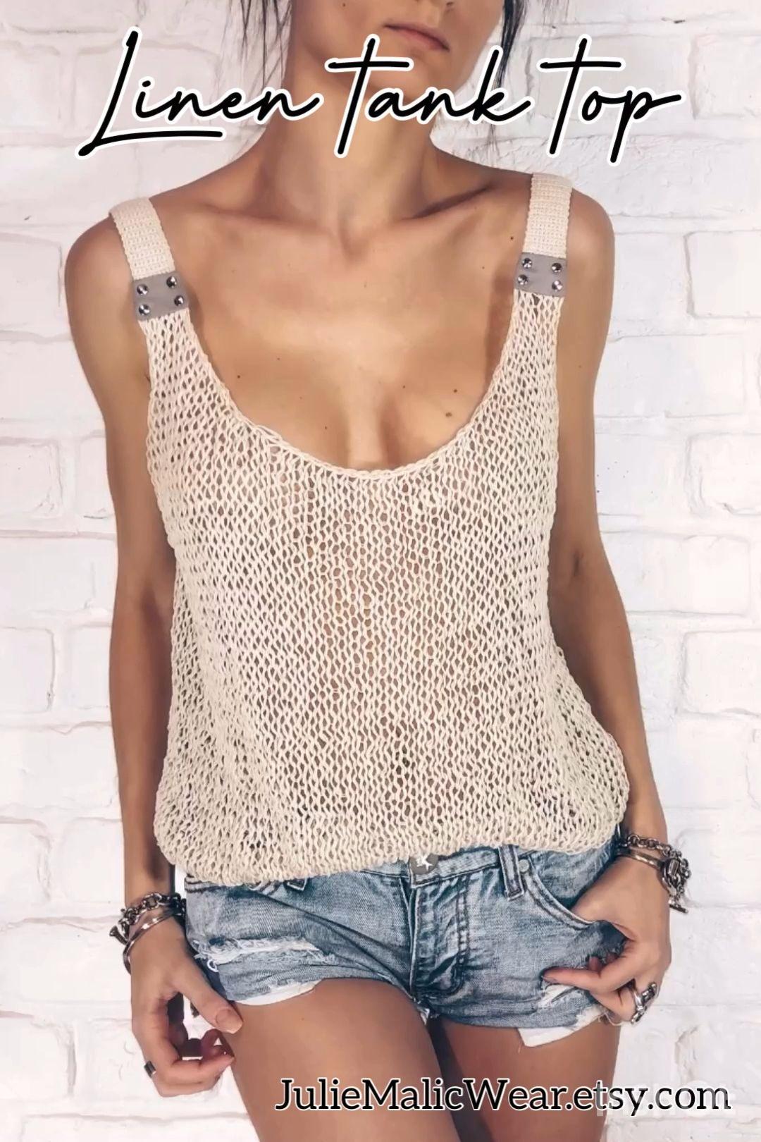 Linen mesh tank top �